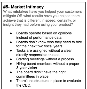 Step #5: section of SaaS Positioning Canvas by Powered By Search - What mistakes have you helped your customers mitigate?