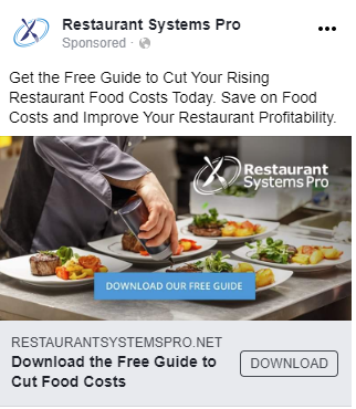 Hypothetical Facebook ad example from B2B SaaS company Restaurant Systems Pro.