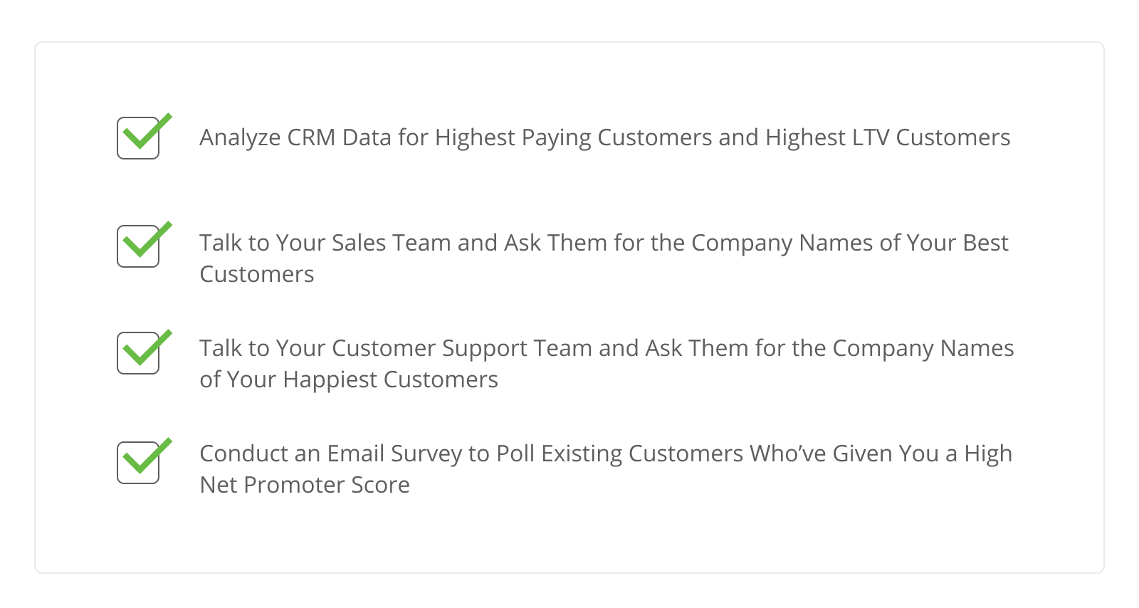 Checklist to identify your best SaaS customers