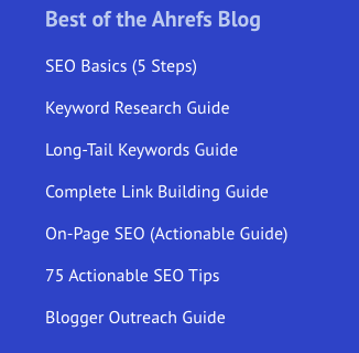 Best of the Ahrefs Blog: SEO Basics, Keyword Research Guide, Long-Tail Keywords Guide, Complete Link Building Guide, etc.