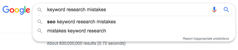 Google search: keyword research mistakes