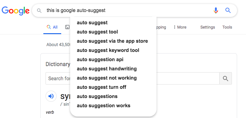 Google search: this is google auto-suggest
