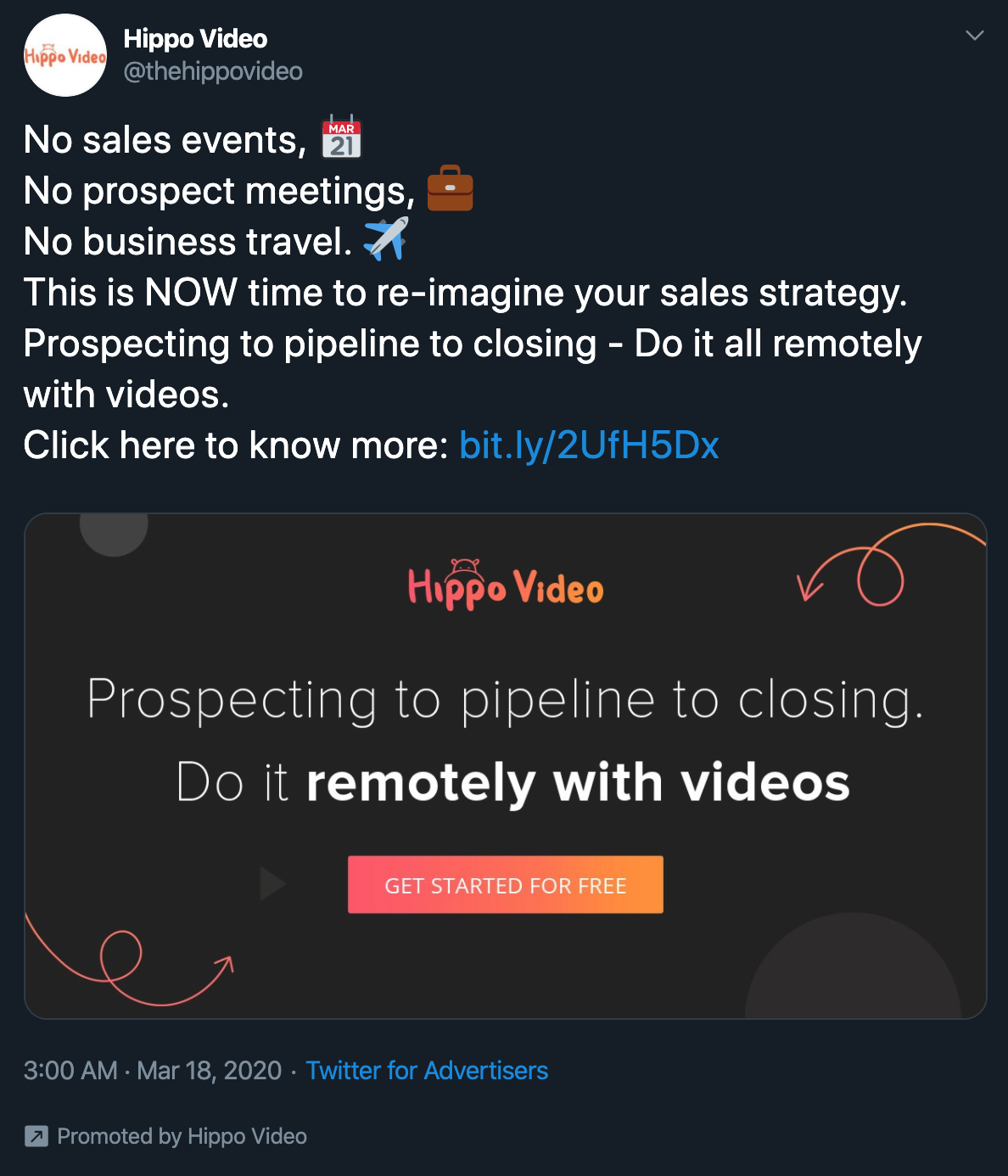 A Hippo Video advertisement