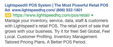 Lightspeed ad headline example