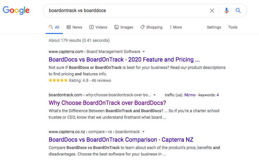 Competitor comparison landing page example: boardontrack vs boarddocs