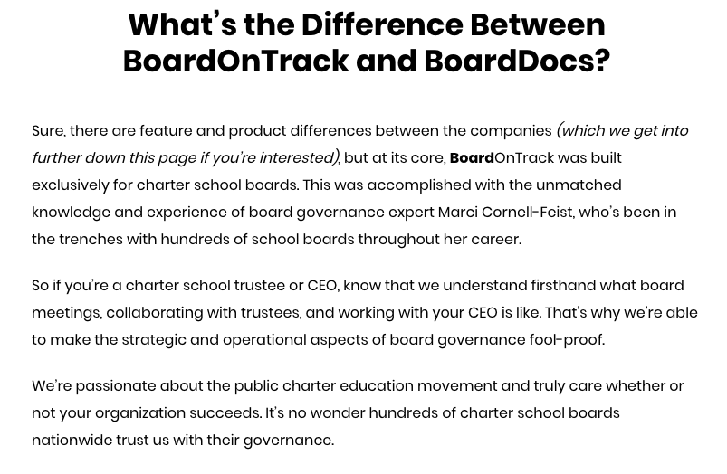 Competitor comparison landing page opening section: What's the Difference Between BoardOnTrack and BoardDocs?