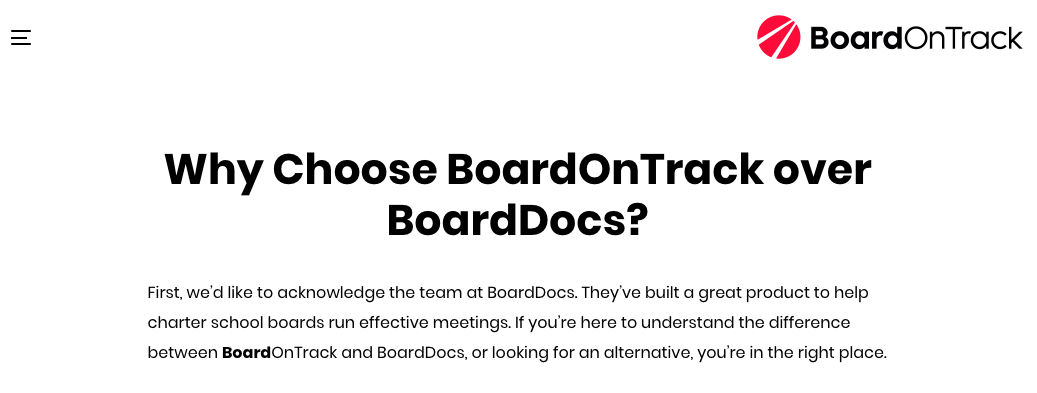 Competitor comparison landing page headline: Why Choose BoardOnTrack over BoardDocs?