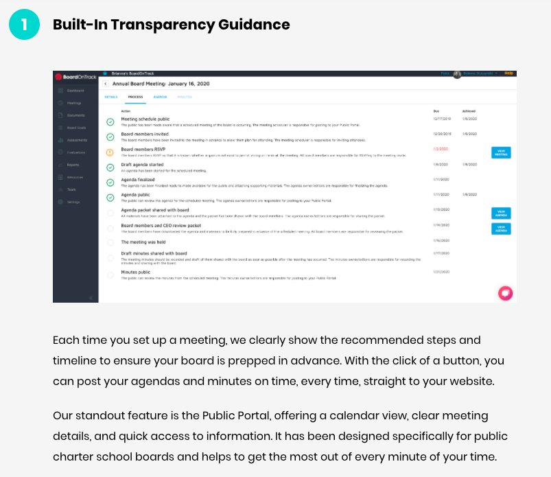 Competitor comparison landing page example 1: Built-In Transparency Guidance