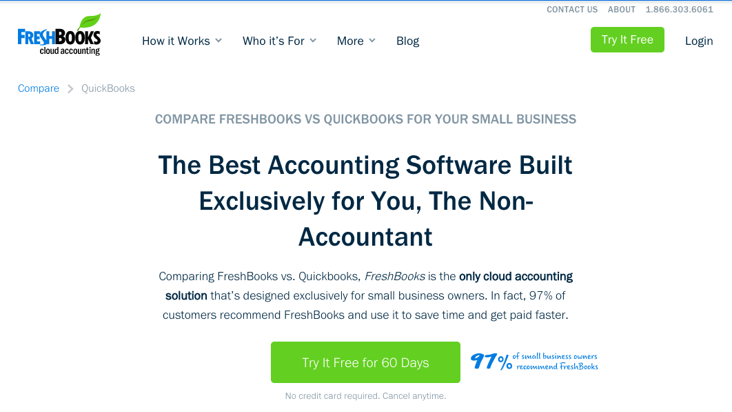 QuickBooks vs FreshBooks Competitor Comparison Landing Page