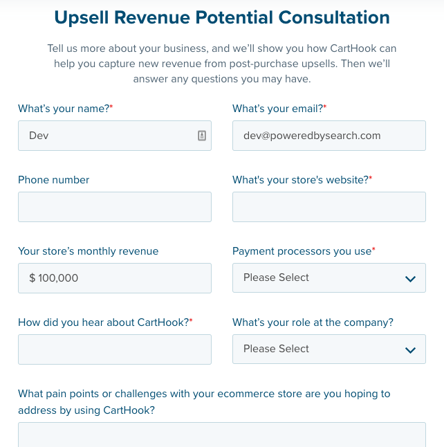 CartHook application form: Upsell Revenue Potential Consultation