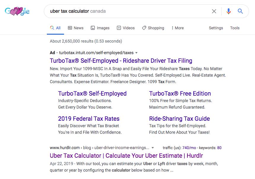 Uber tax calculator Google results (Canada)