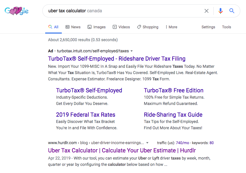 Uber tax calculator: Google Canada search results