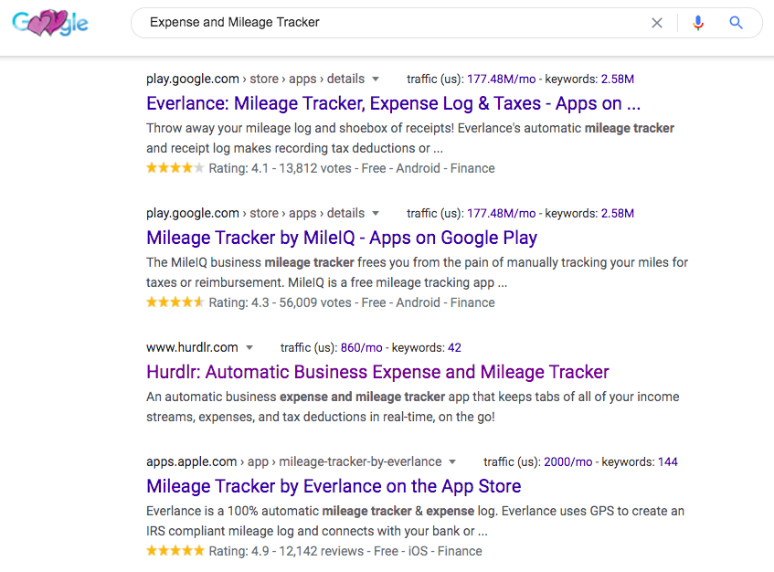 Expense and Mileage Tracker Google Results