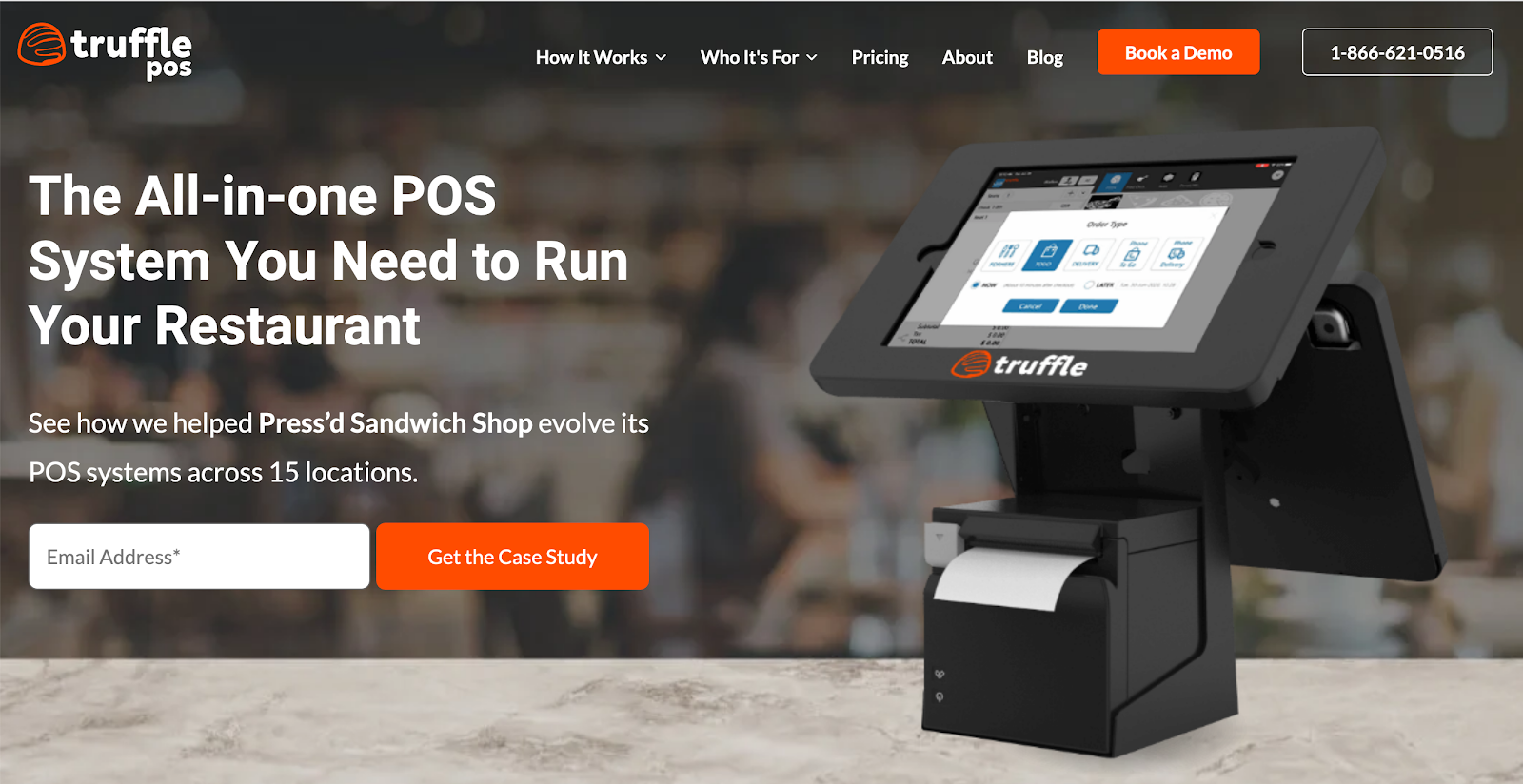 The Truffle POS Homepage shows what the POS system looks like