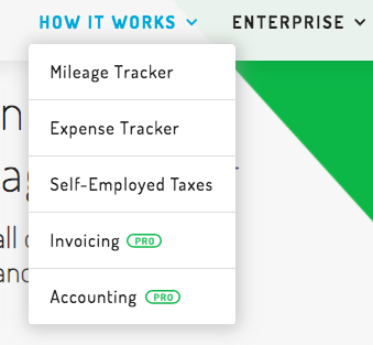 Header Menu on the Hurdlr site: Mileage Tracker, Expense Tracker, Self-Employed Taxes, Invoicing, Accounting