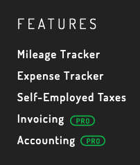 Footer on the Hurdlr site: Mileage Tracker, Expense Tracker, Self-Employed Taxes, Invoicing, Accounting
