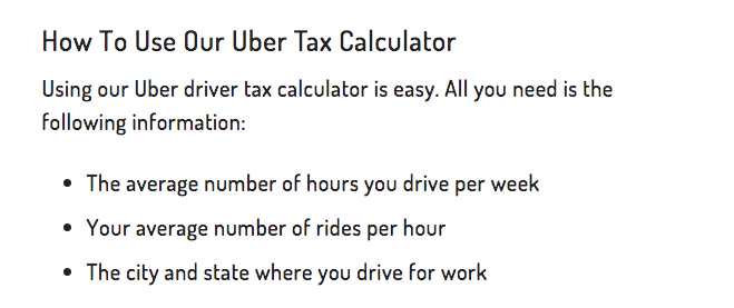 How to Use Our Uber Tax Calculator