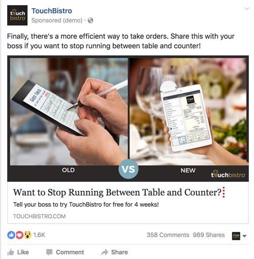 SaaS marketing case study Facebook ad example