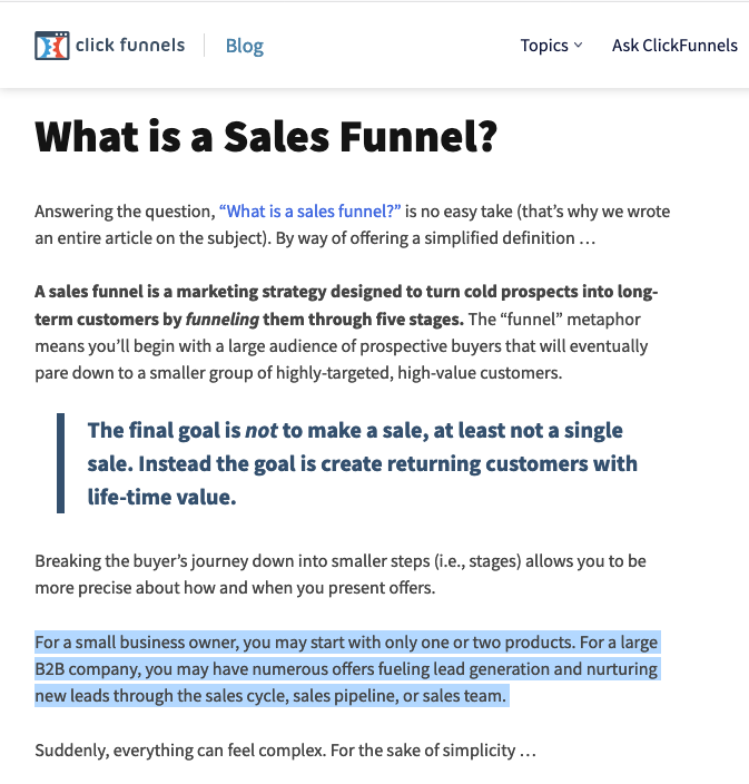 """What is a sales funnel?"" defined by ClickFunnels"