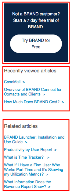 Help desk for SaaS SEO example: CTA, Recently viewed articles, Related articles.