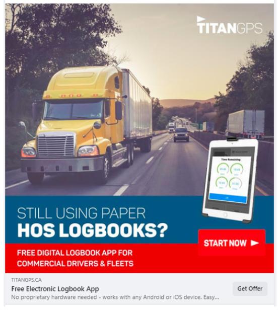 "Titan GPS: ""Still using paper HOS logbooks? Free digital logbook app for commercial drivers & fleets"""