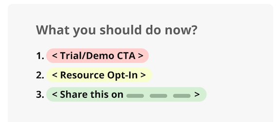 """What you should do now? (1) Trial/Demo CTA (2) Resource Opt-In (3) Share this on 'Y' platform"