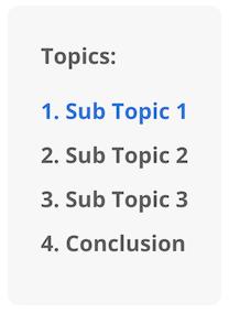 Topics: Sub Topic 1, Sub Topic 2, Sub Topic 3, Conclusion