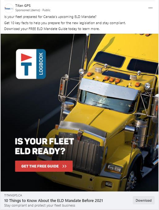 "Titan GPS Facebook ad: ""Is your fleet ELD ready?"""
