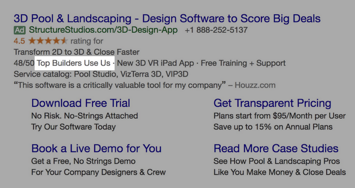Google Ads creative example for B2B SaaS: Top Builders Use Us
