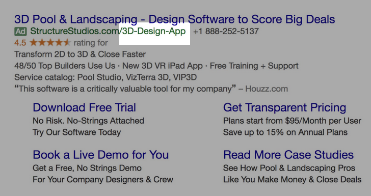 Google Ads creative example for B2B SaaS: URL slig /3D-Design-App/