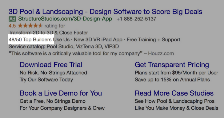 Google Ads creative example for B2B SaaS: 48/50 Top Builders