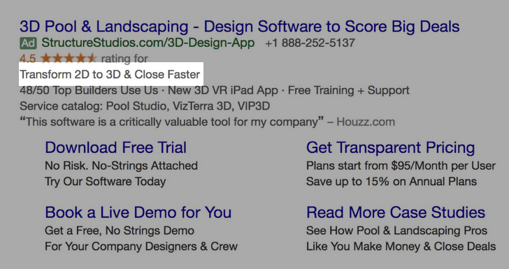 Google Ads creative example for B2B SaaS: Transform 2D to 3D & Close Faster