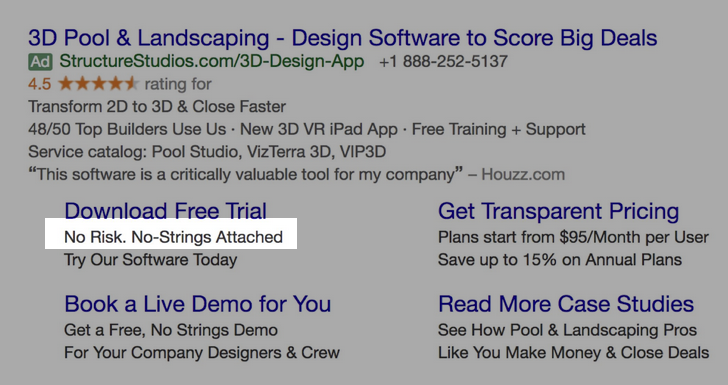 Google Ads creative example for B2B SaaS: No Risk. No-Strings Attached.
