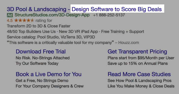 Google Ads creative example for B2B SaaS: Design Software to Score Big Deals