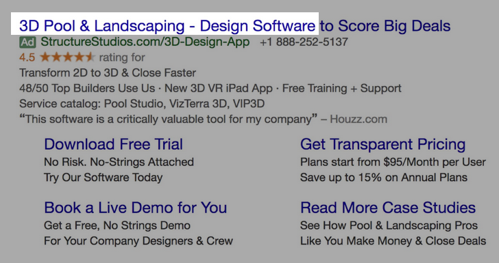 Google Ads creative example for B2B SaaS: 3D Pool & Landscaping - Design Software