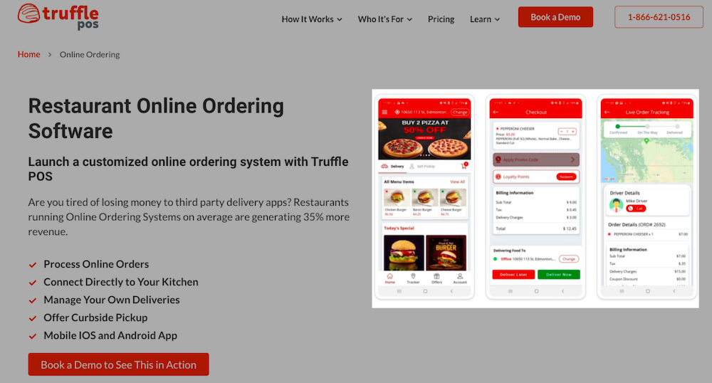B2B SaaS Product Page Example: Images of client view ordering software is highlighted