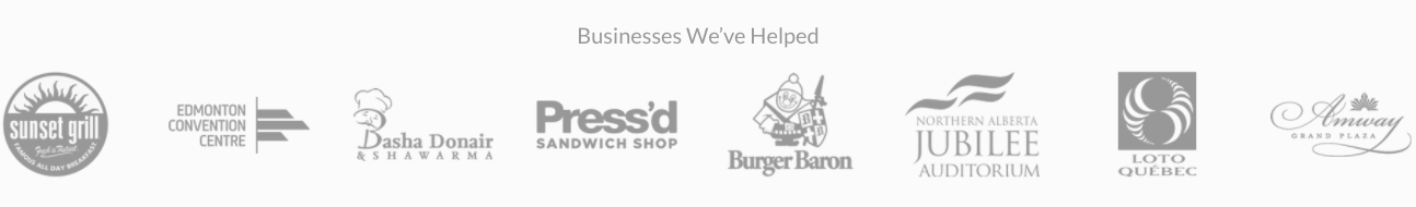 Example Banner of Trust including business logos for Sunset grill, Press'd, Jubilee and others