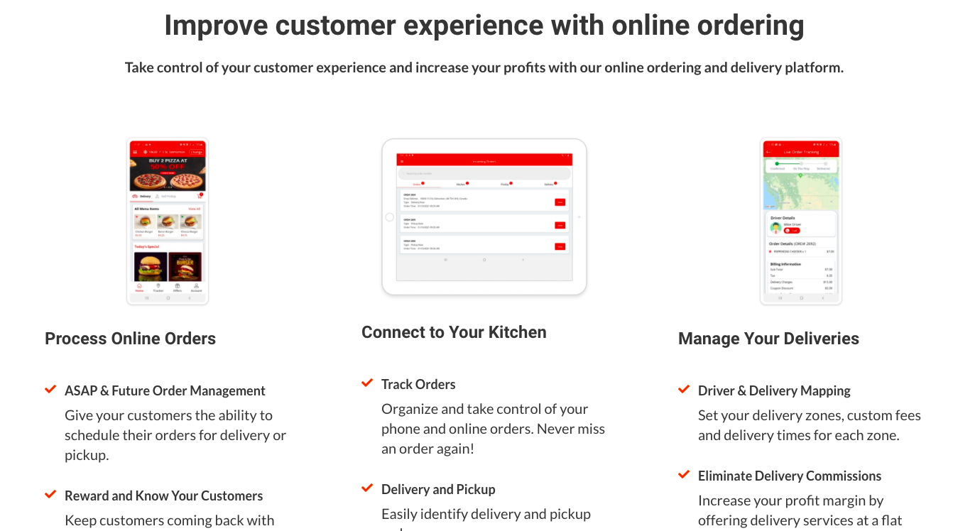 Examples of Process online orders, connect to your kitchen and manage your deliveries screens on phones and a tablet