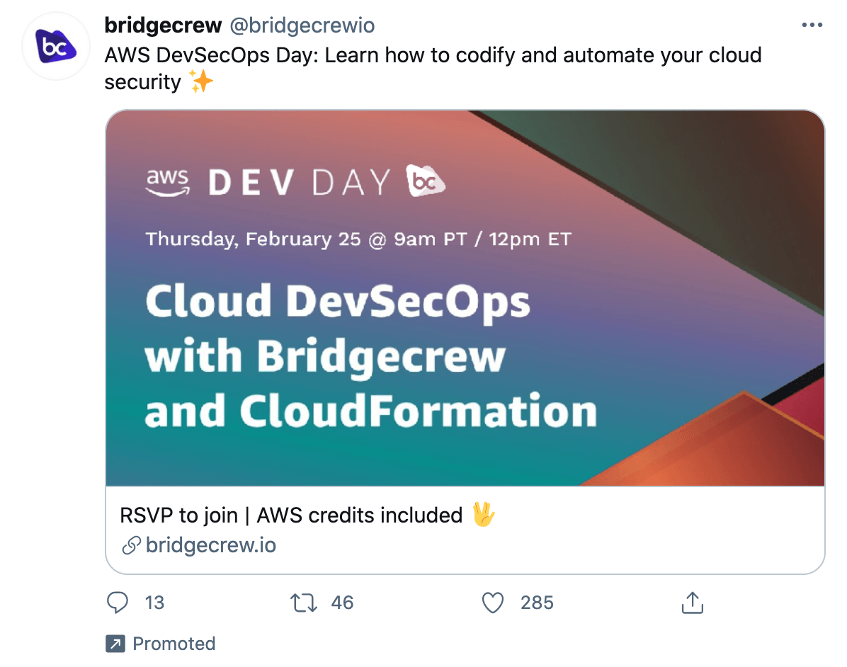"""Example of Twitter Ads for SaaS: """"AWS DevSecOps Day: Learn how to codify and automate your cloud security"""""""