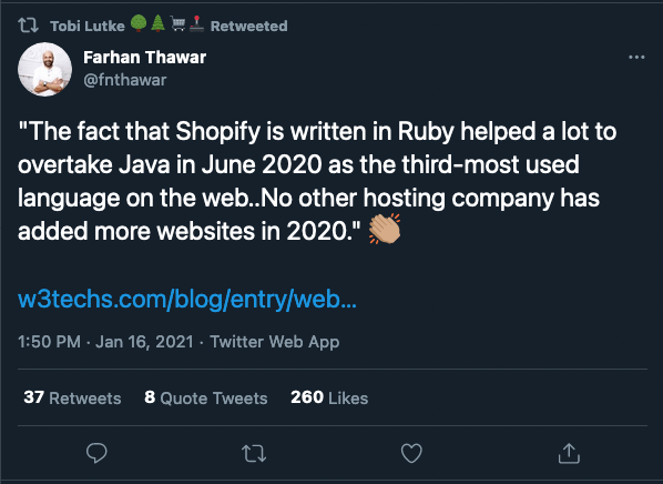 """Example of Twitter Ads for SaaS: """"The fact that Shopify is written in Ruby helped a lot to overtake Java in June 2020 as the third-most used language on the web..No other hosting company has added more websites in 2020."""""""
