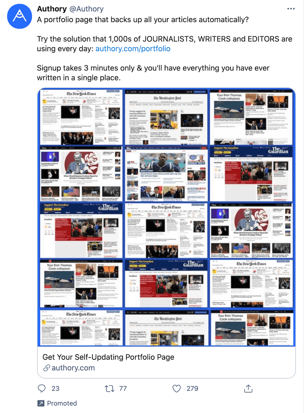 """""""A portfolio page that backs up all your articles automatically? Try the solution that 1,000's of JOURNALISTS, WRITERS, and EDITORS are using every day..."""""""
