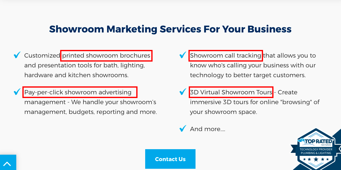 Example of optimizations in our SEO roadmap process for B2B SaaS: Showroom Marketing Services for Your Business