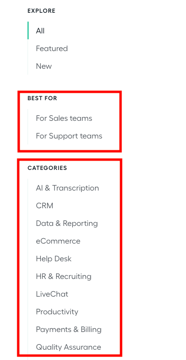 """Example of """"Best For"""" and """"Categories"""" for a SaaS integrations page."""