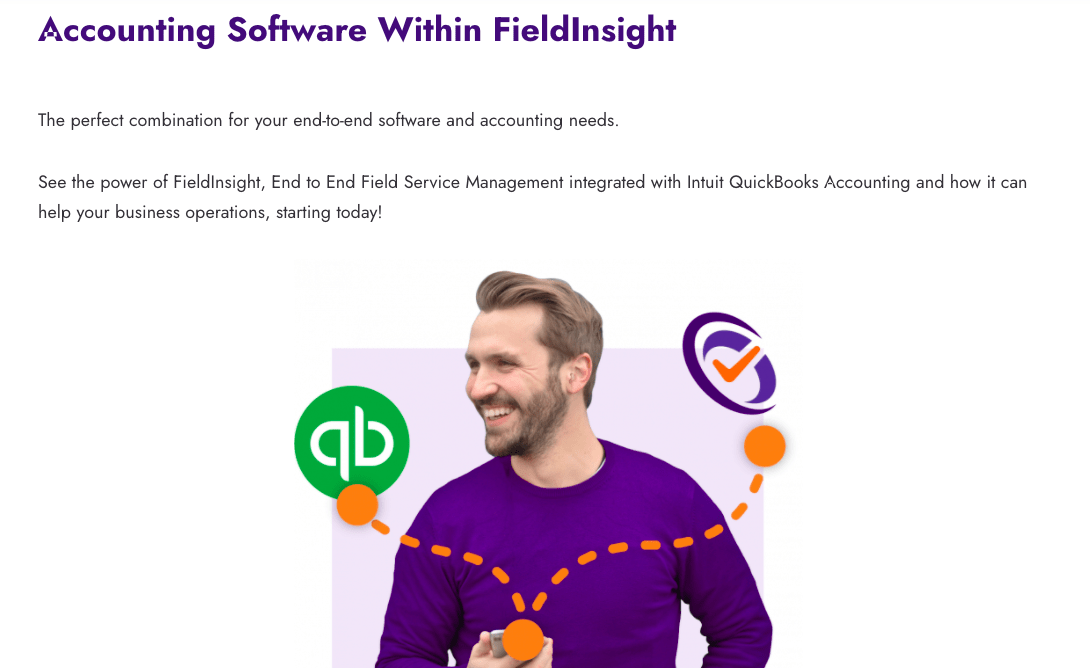 FieldInsight Example of content on a SaaS integrations page.