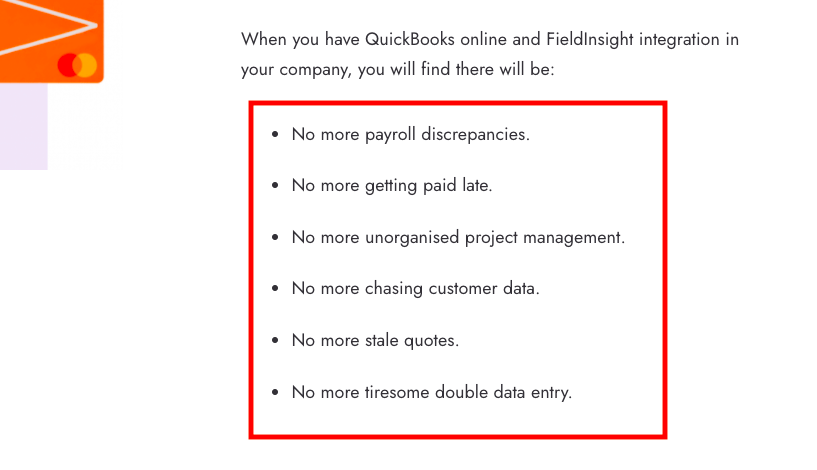 Example of content on a SaaS integrations page