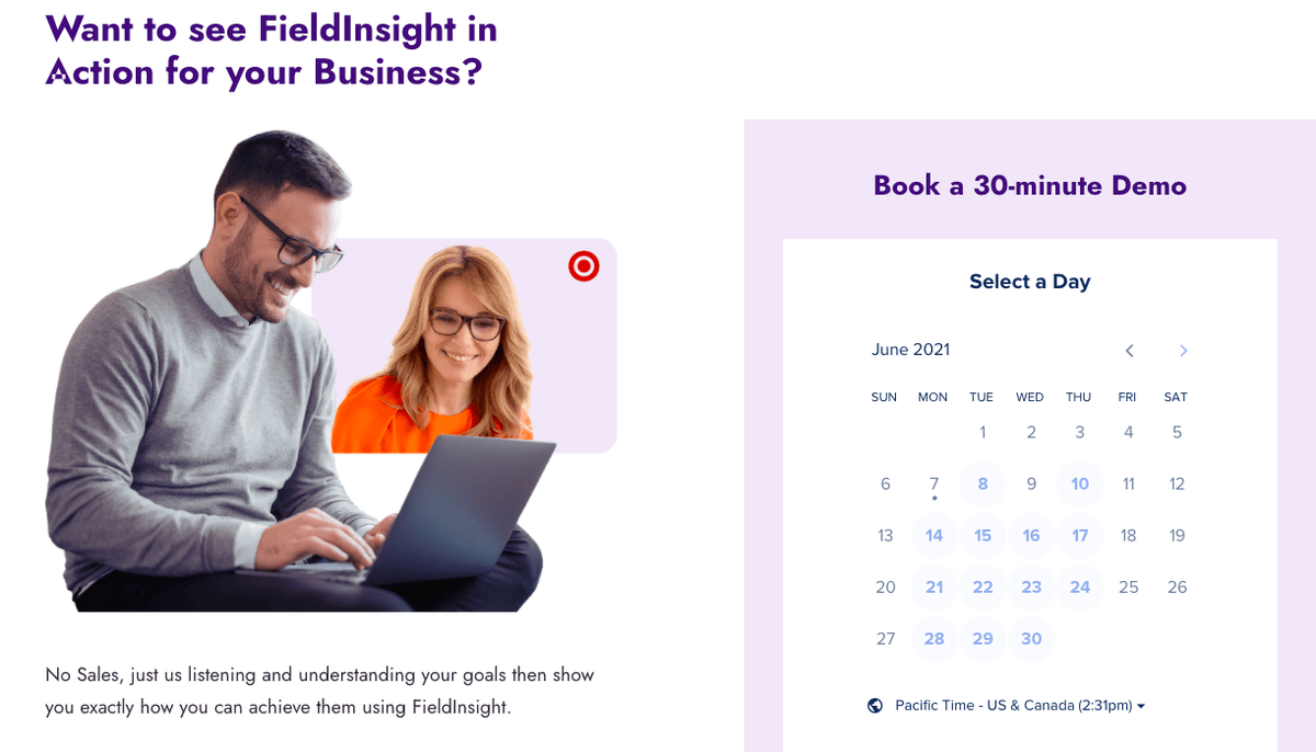 """""""Want to see FieldInsight in Action for Your Business? Book a 30-minute demo"""