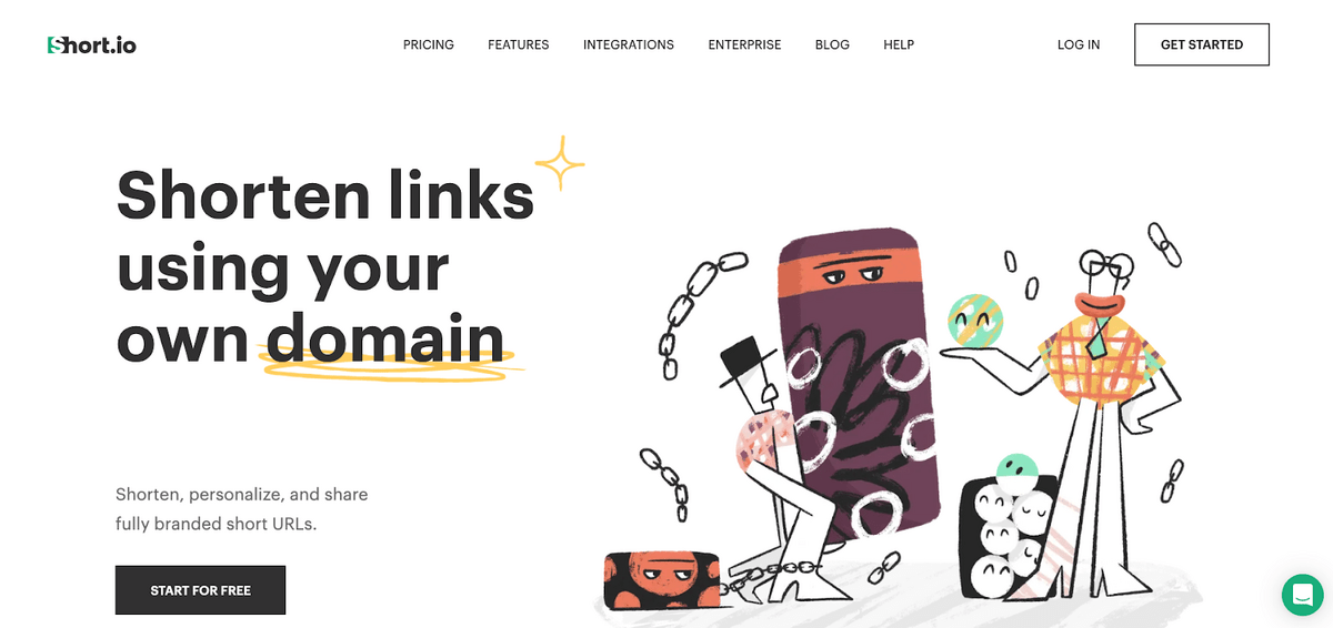 Example of pain point focused positioning in B2B SaaS: 'Shorten links using your own domain'