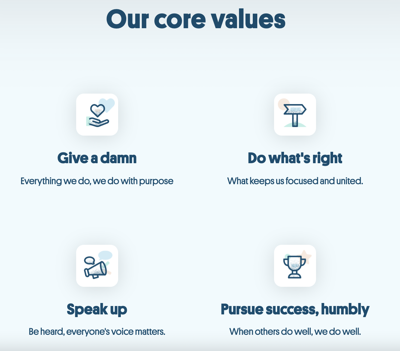 Example of using a Why Us page featuring core values for positioning in B2B SaaS