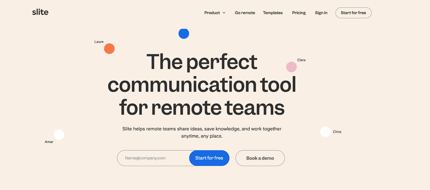 """Example of vague positioning in B2B SaaS - """"The perfect communication tool for remote teams"""""""