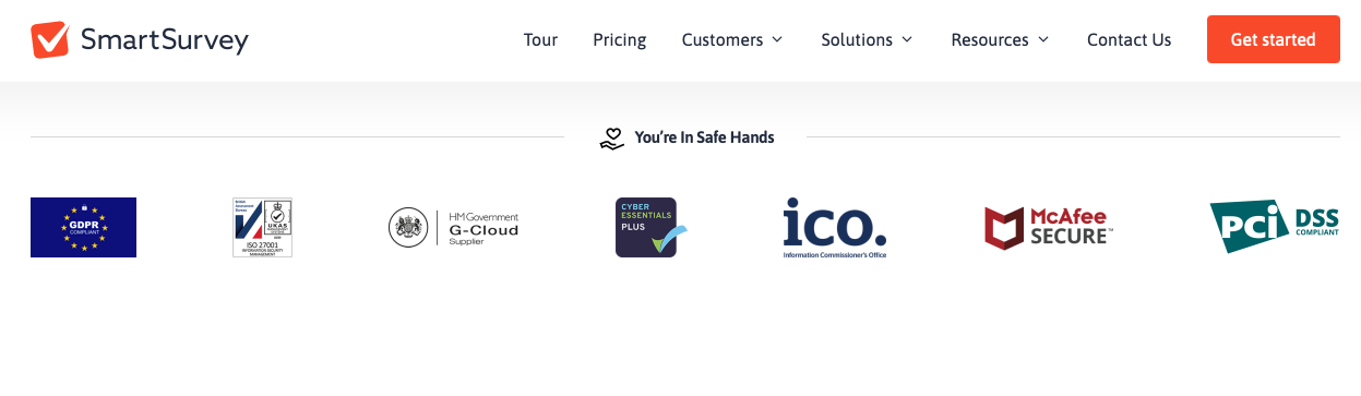 Example of using badges to show security of your B2B SaaS product